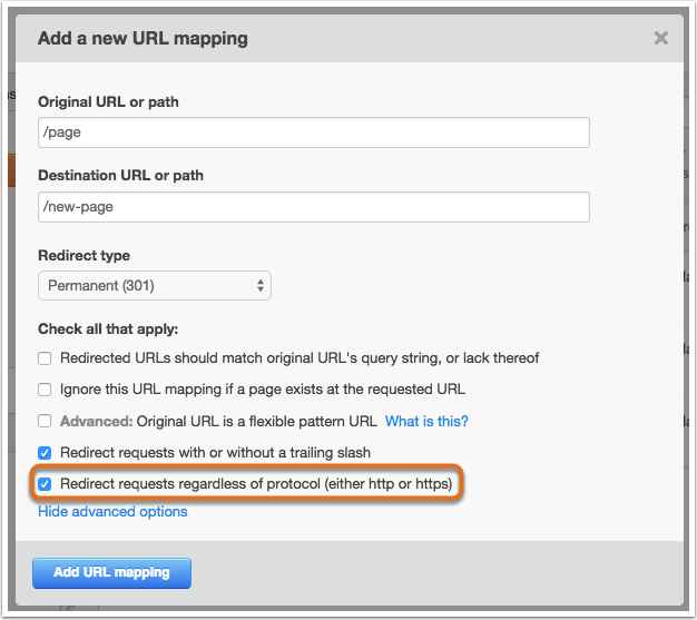 How to use the URL mapping tool to redirect pages