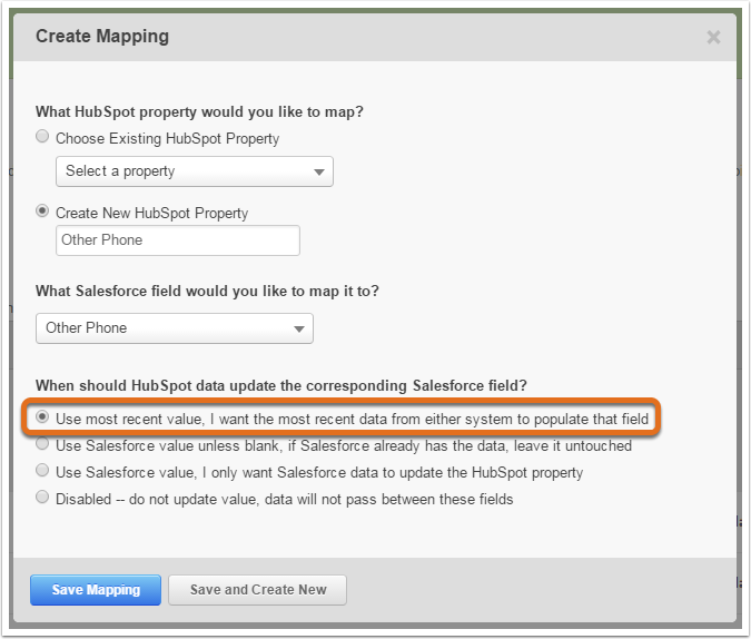 How to map contact properties between HubSpot and Salesforce