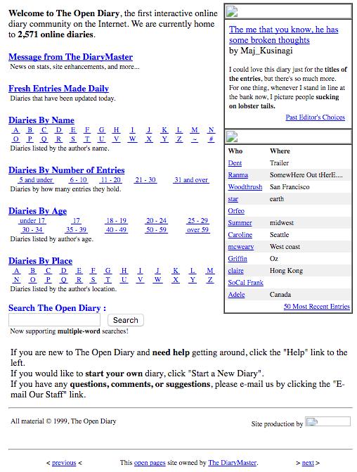 Open Diary circa 1999