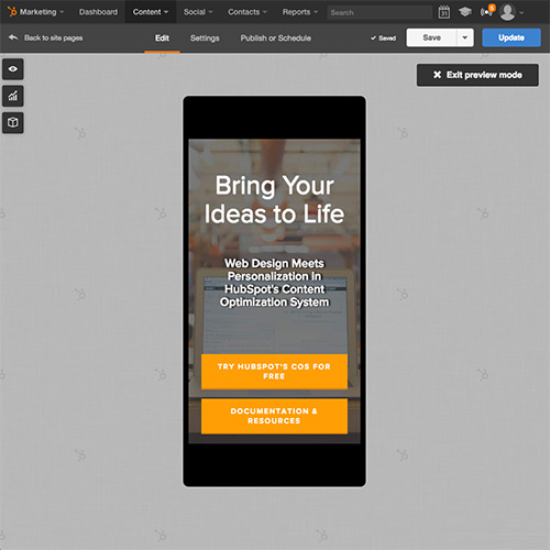 HubSpot Website Platform - Automatically Optimize Your Website for Mobile