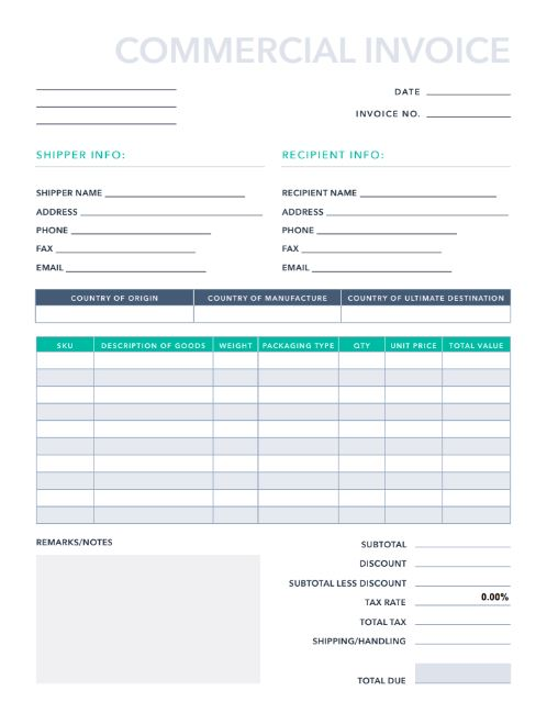 It is a graphic of Printable Commercial Invoice for downloadable
