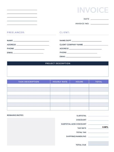 photo about Business Hours Template Pdf referred to as No cost Invoices/Receipts PDF Excel Template HubSpot