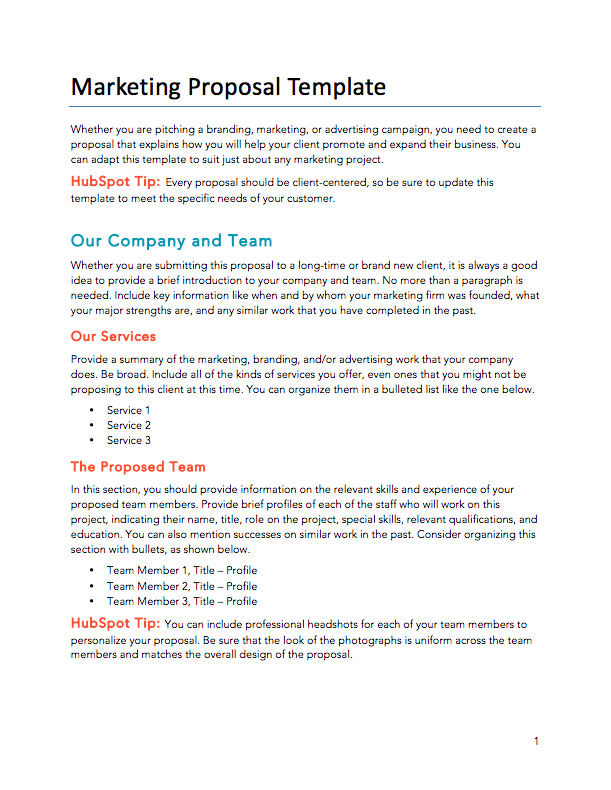 Free Proposals/Estimates/Quotes PDF & Word Template | HubSpot