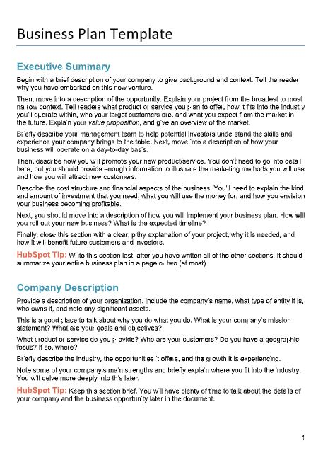 Free Business Plans Pdf Word Template