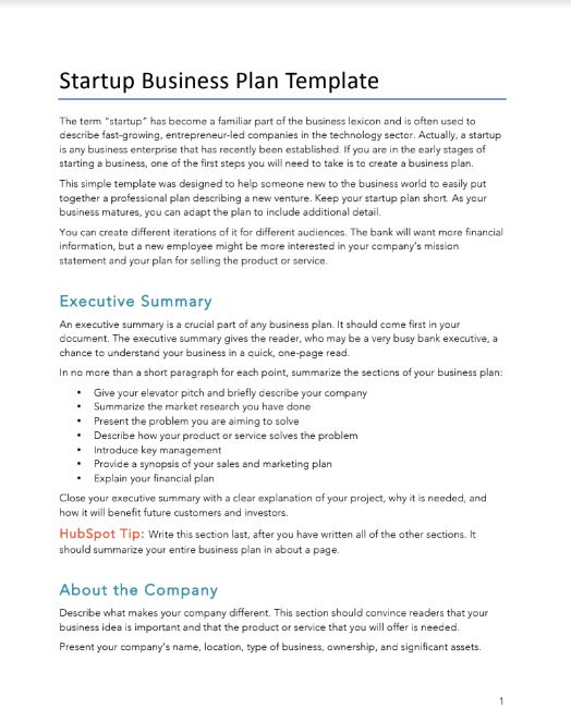 Startup Business Plan | Free Business Plans Pdf Word Template Hubspot