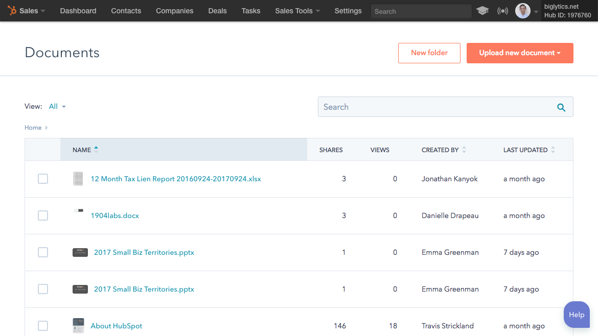 hubspot sales sales documents document tracking