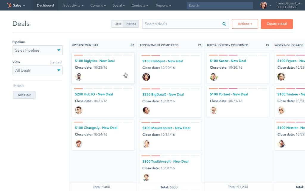 El CRM de HubSpot te ayuda a mantenerte organizado sin esfuerzo