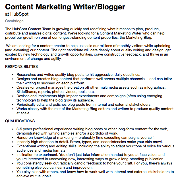 Marketing writer