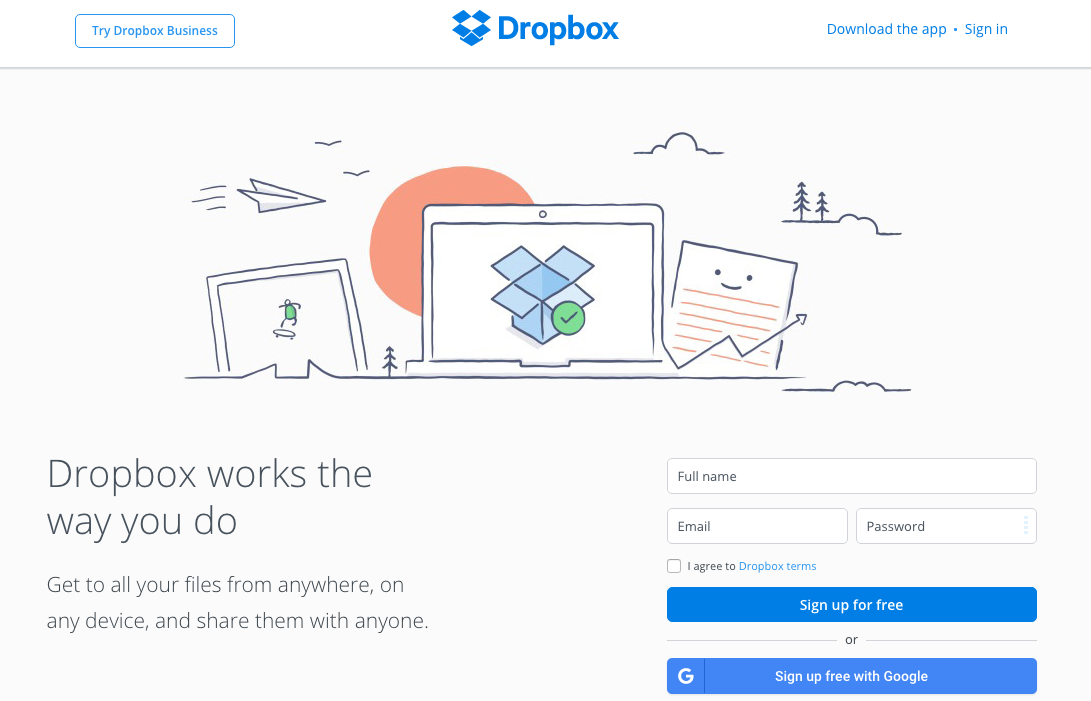 dropbox consumer homepage designpng - Best Home Page Design