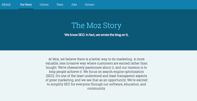 The story of Moz on its About Us page