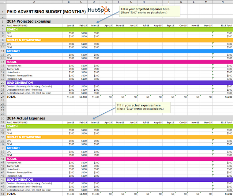 excel marketing budget template