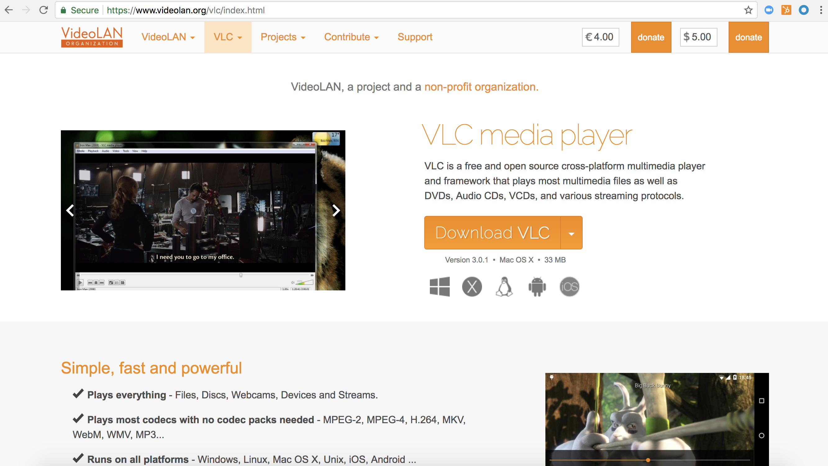 VLC media player homepage