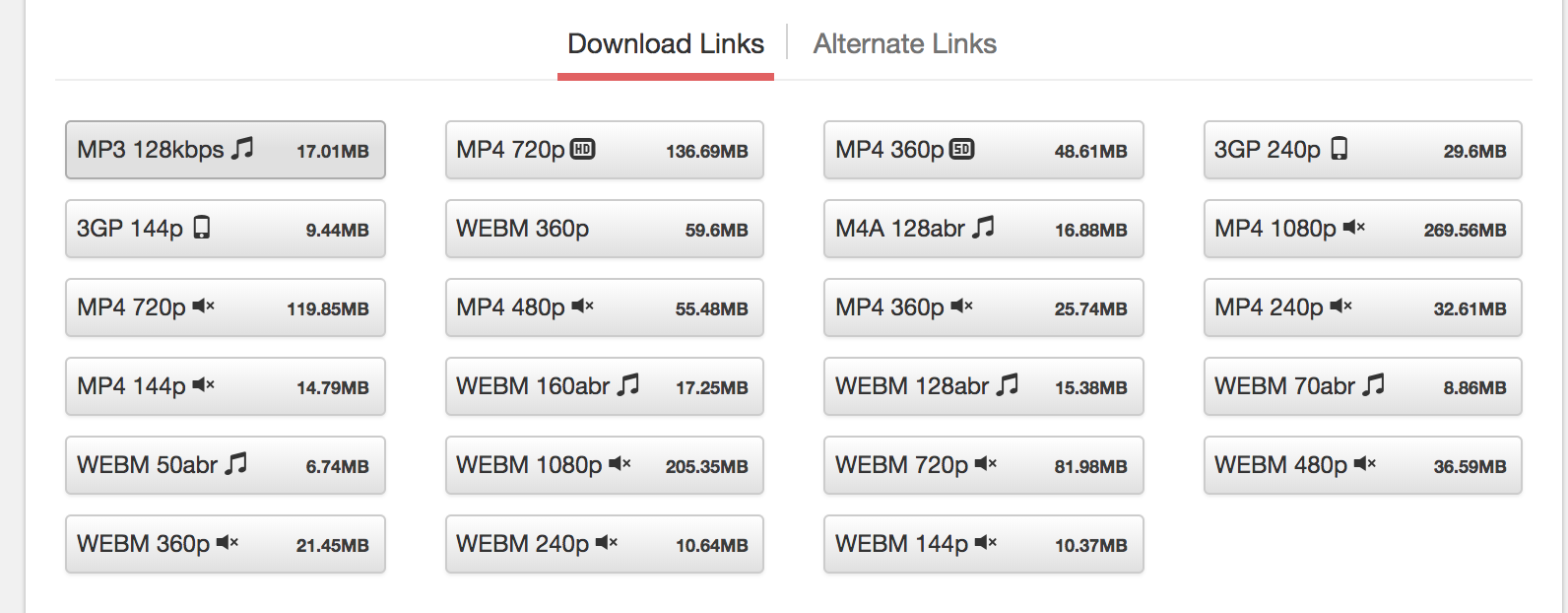 List of Download Links to download MP3 of YouTube video