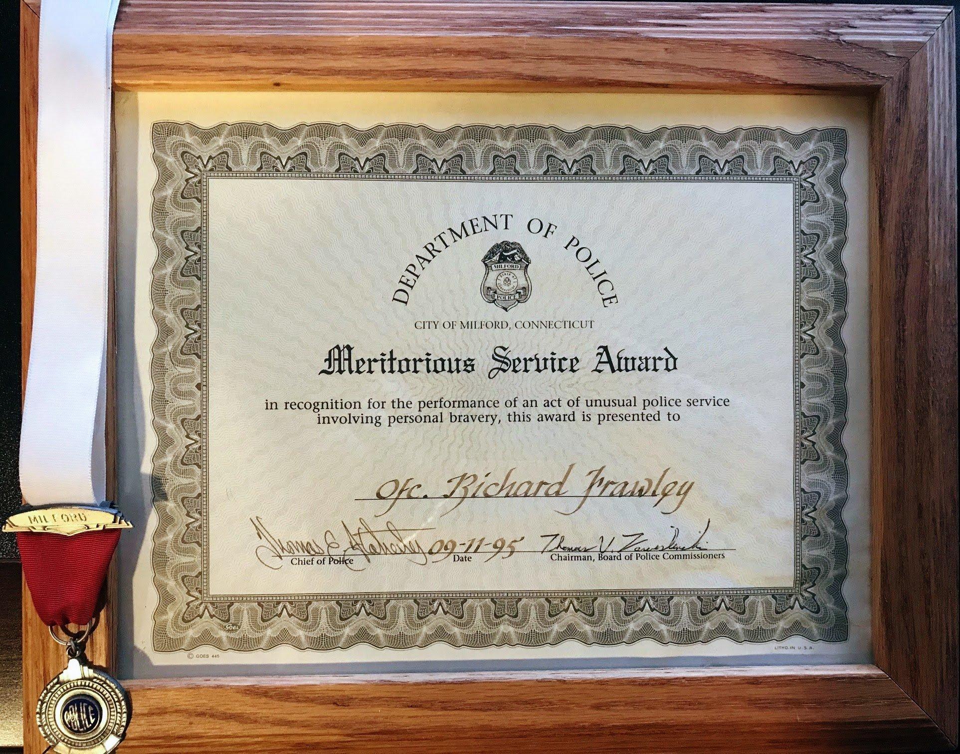 Meritorious Service Award Richard Frawley