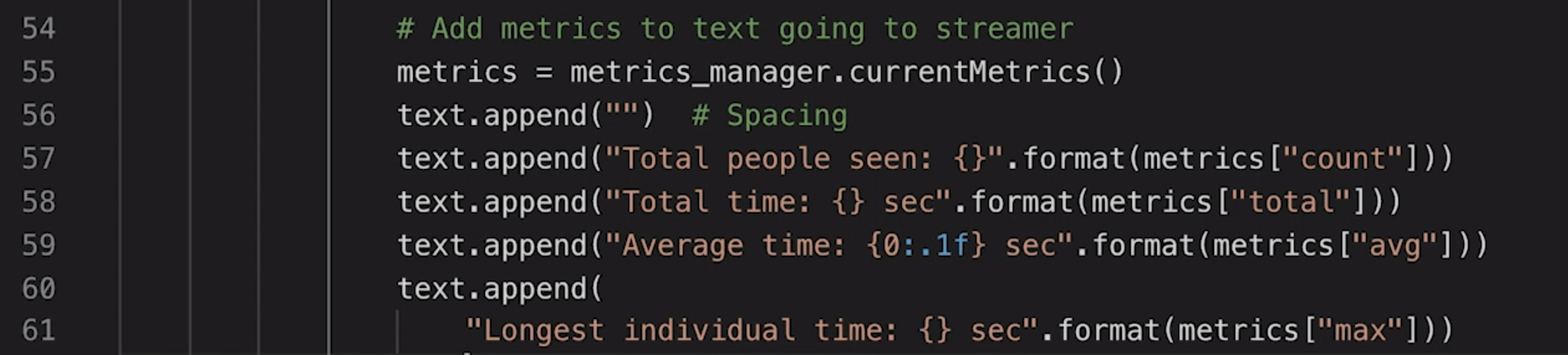 screenshot computer vision metrics text