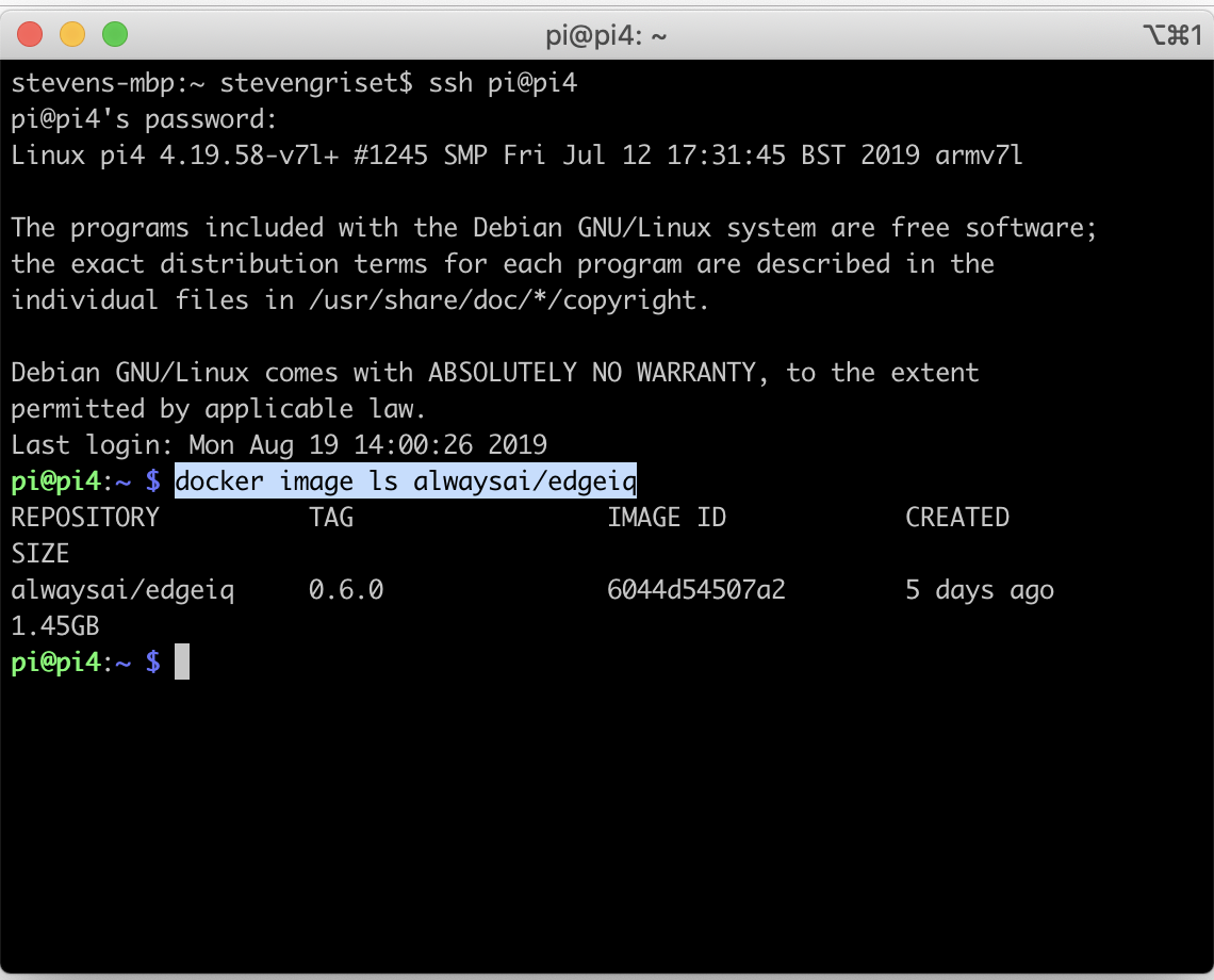 Screenshot of Raspberry Pi Using computer vision platform