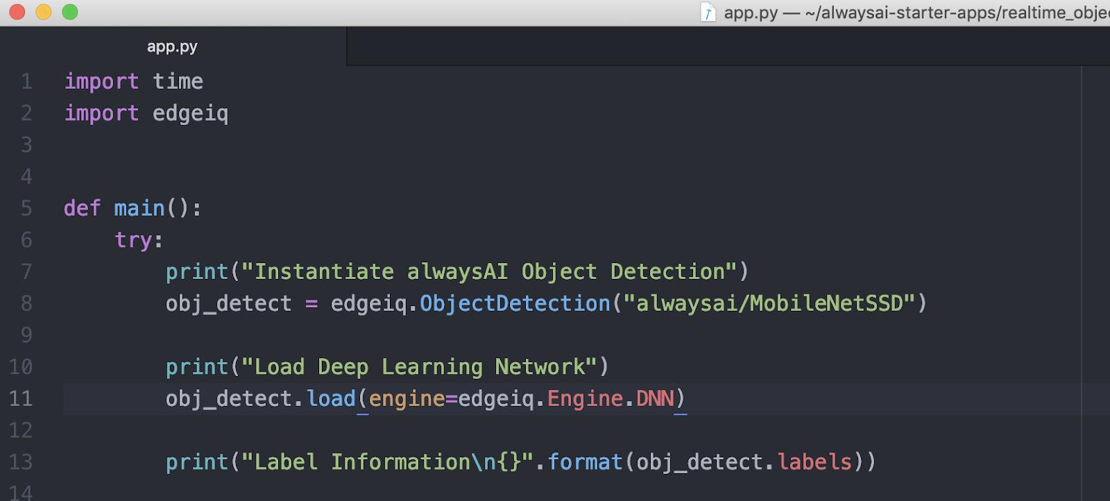 Screenshot of the configuration process. alwaysAI Computer Vision Platform