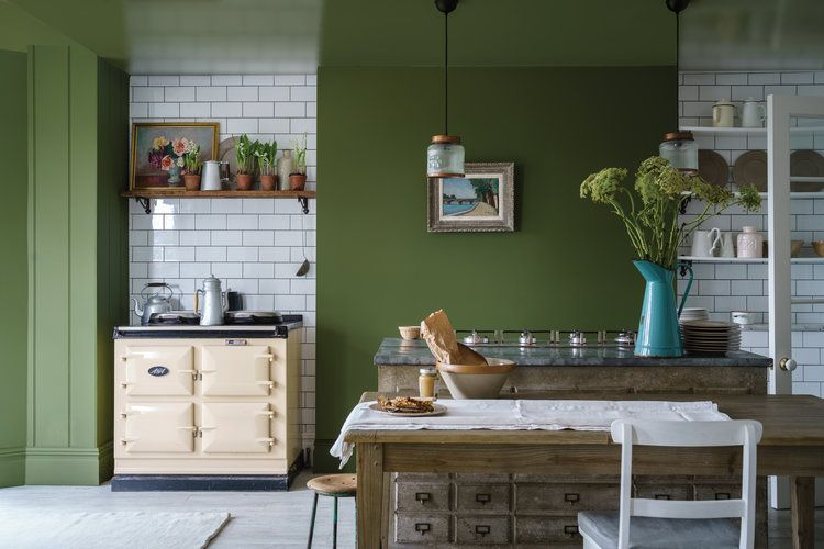 olive and white coloured kitchen