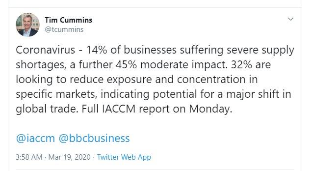 Tim Cummins supply shortages Tweet