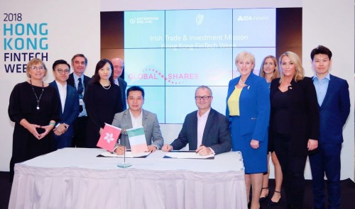 Photo of Deal signing ceremony in the presence of Ireland's Minister Humphreys and Enterprise Ireland's CEO at Hong Kong FinTech Week Conference