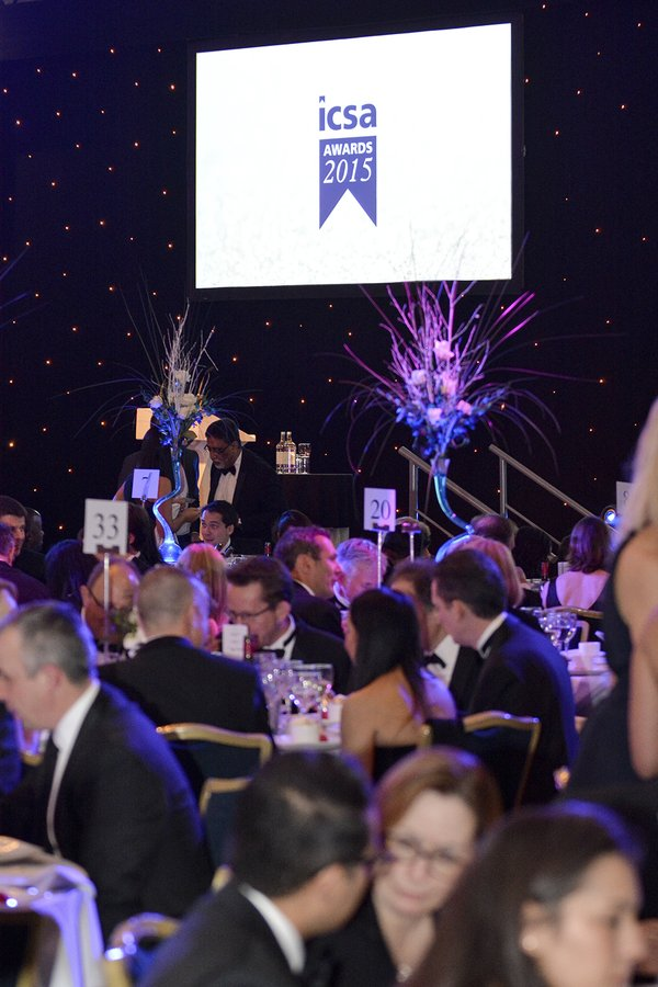 Photo of the participants and stage on the background of the ICSA Awards 2015