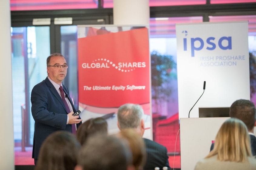 Photo of Seán Quill,Global Shares Managing Director Ireland giving his lecture