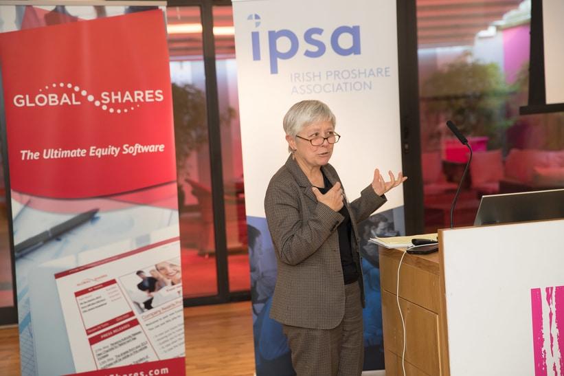 Photo of Virginie Perotin giving a speech