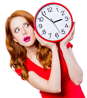 300 px woman with big clock red dress shutterstock_1038522601
