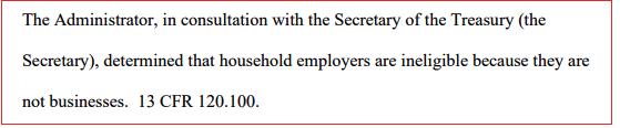Household Employer Ineligible