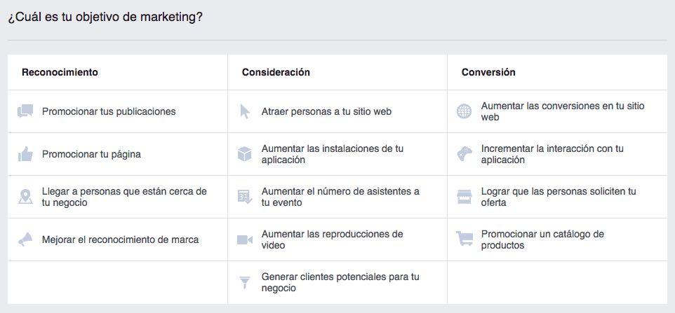 Seleccionar Objetivos de Marketing en Facebook