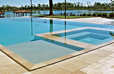 square custom spa overflow perimeter pool 1jpg