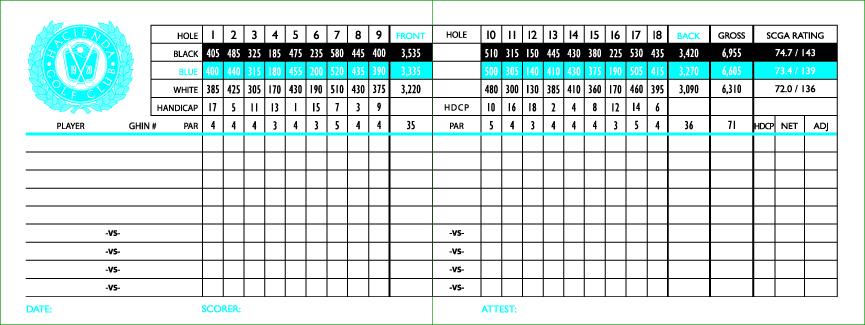 Haciendo Golf Club California Map.Hacienda Golf Club Championship Golf Course Scorecard