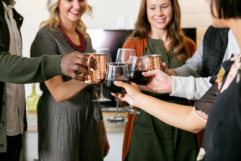 Friends gathered and toasting drinks during a party.
