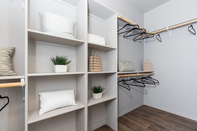 Organized closet space with plants and storage cubbies.