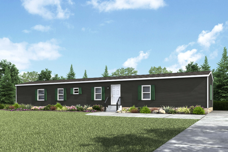Rendering image of the dark gray White OAK manufactured home model.