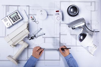 designing property plan with home security cameras