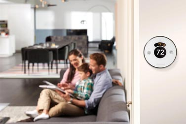 Home automation system with thermostats