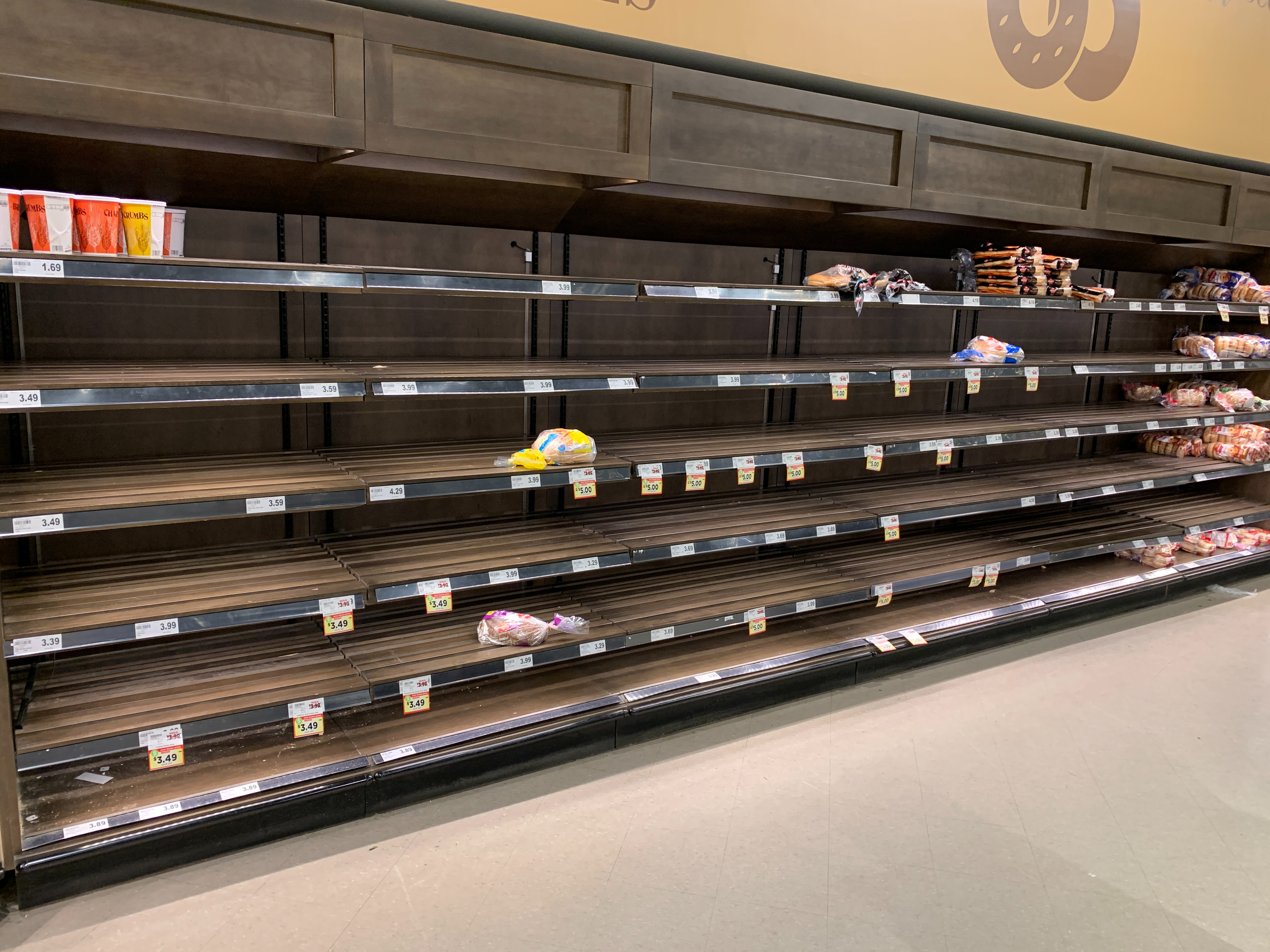Shelves across the country have been picked clean by consumers in preparation for social distancing