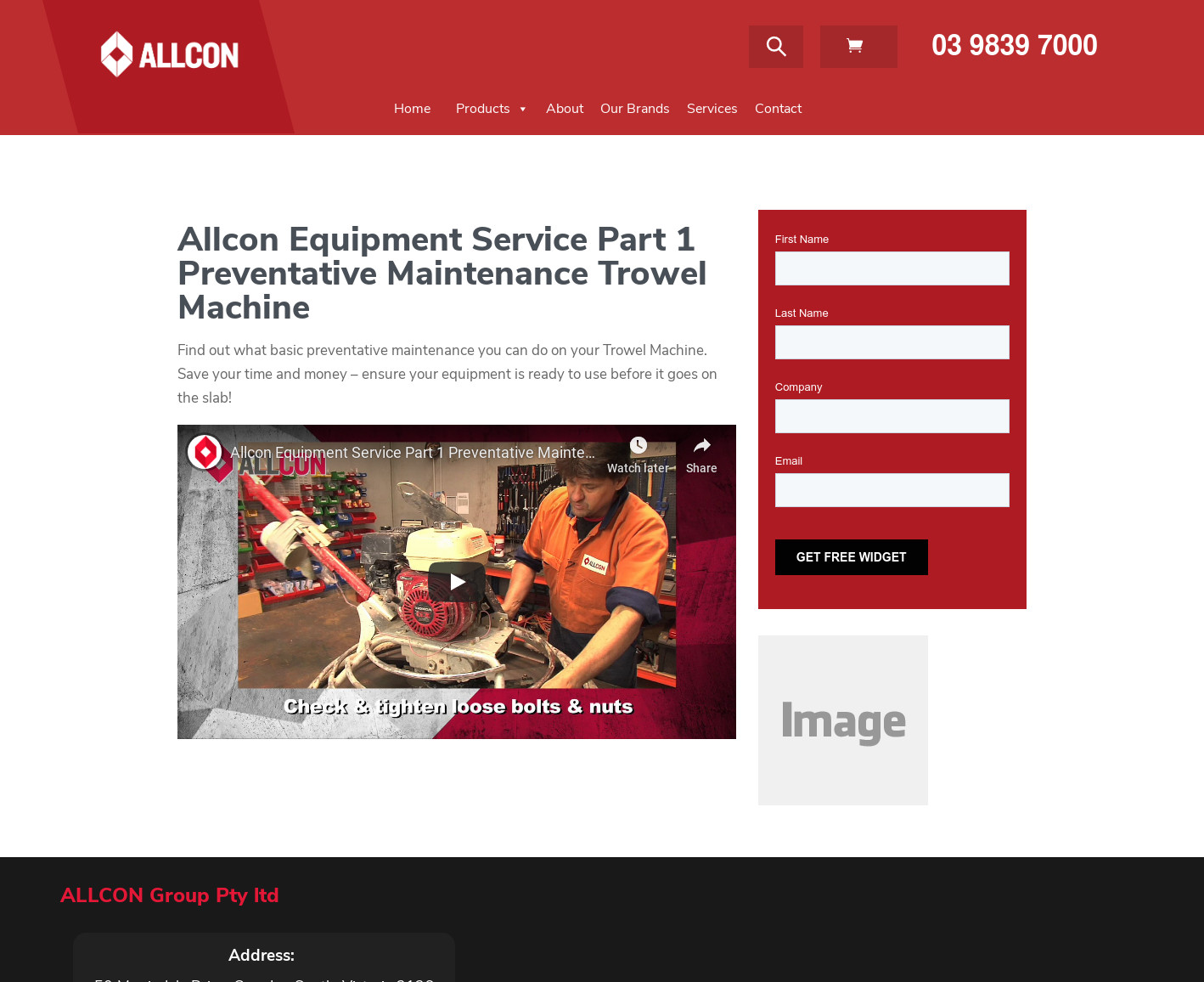 Allcon Equipment Service Part 1 Preventative Maintenance Trowel Machine