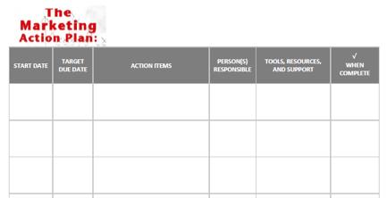 Doc680716 Marketing Action Plan Template Marketing Action – Action Plan Steps Template