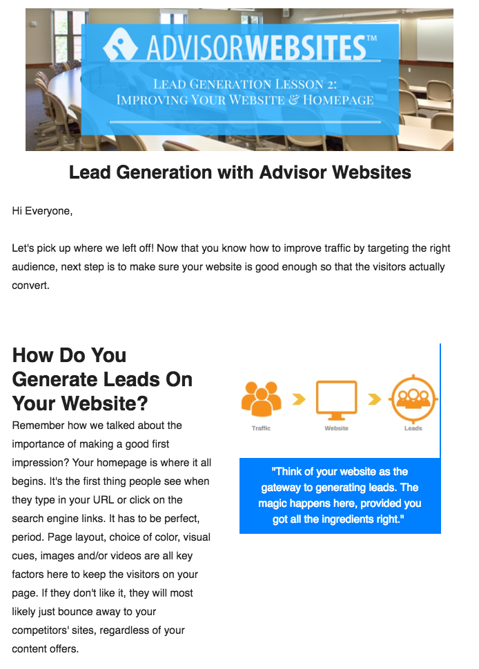 Advisor Websites: Email Drip Courses
