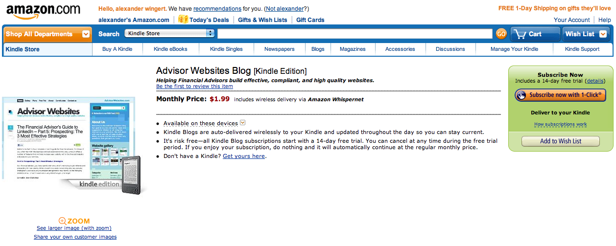 Advisor Websites' Blog Is Now Available on the Kindle