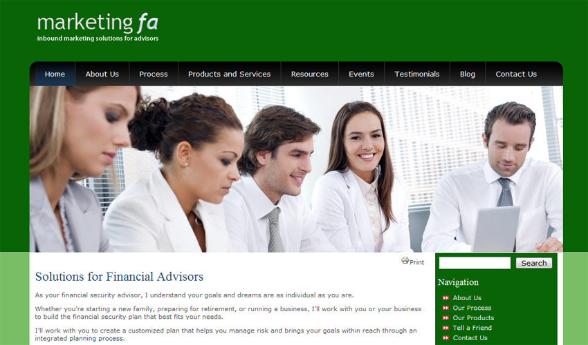 New financial template for Advisor Websites' clients