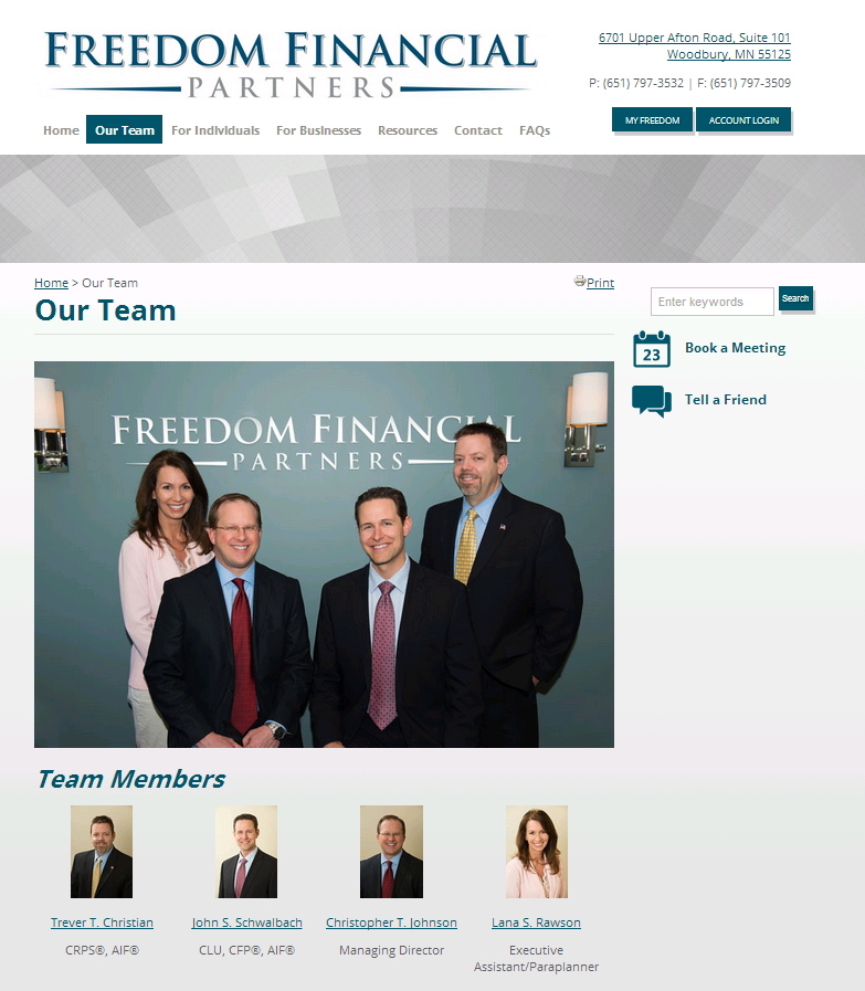 Advisor Websites Featured Websites: Freedom Financial Partners