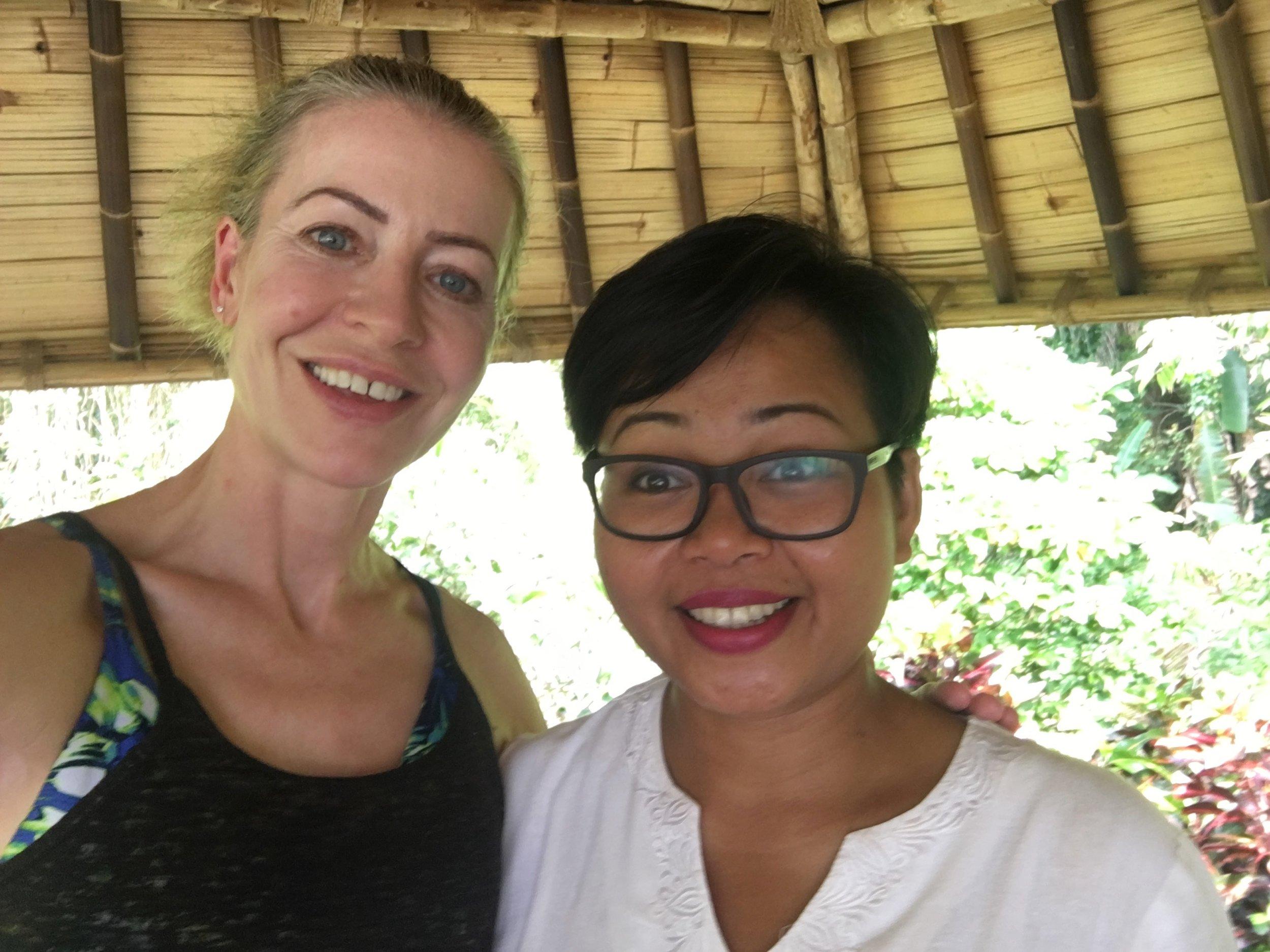 Here I am with Ibu Fera, who runs the wellness program at Sayan.