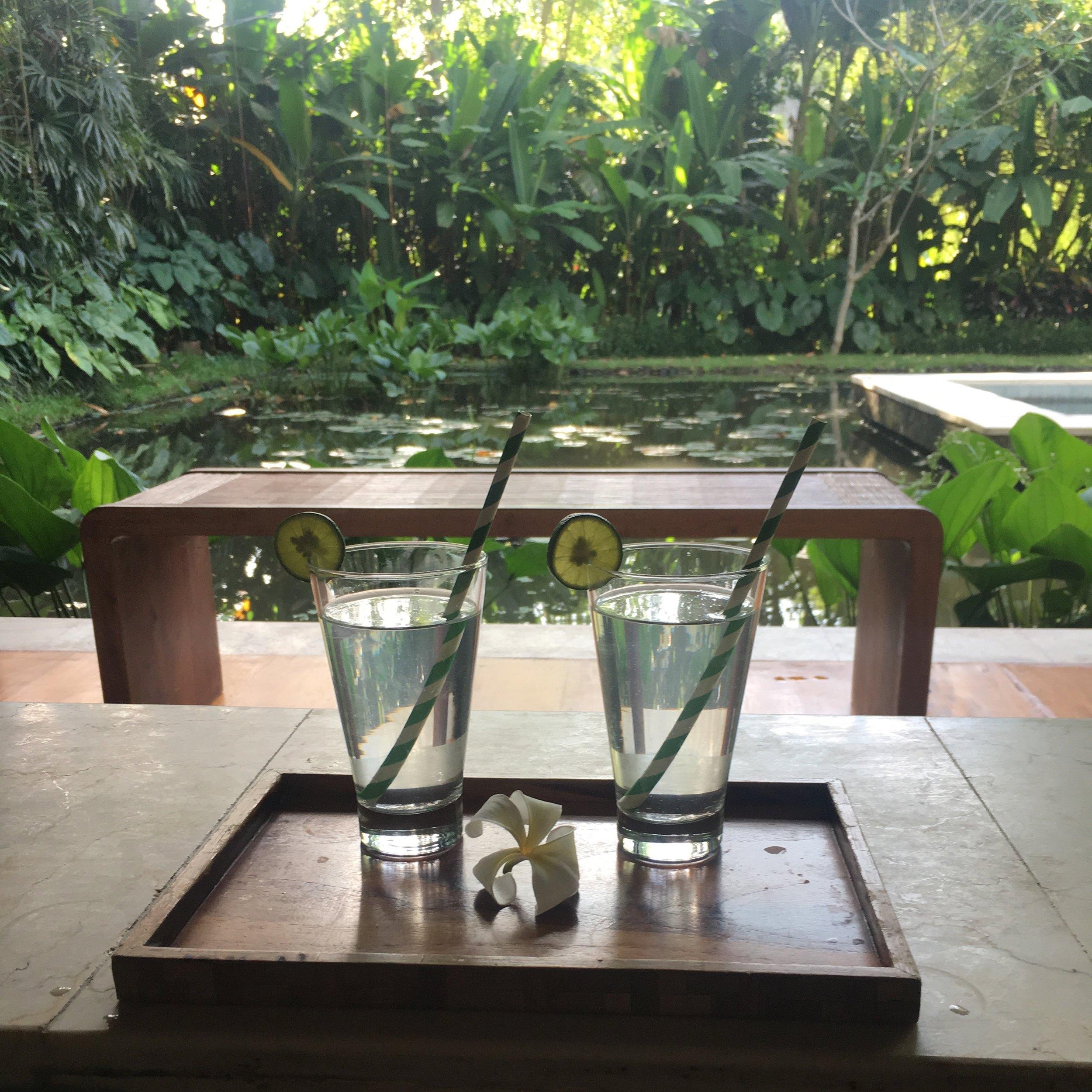 Fresh coconut water, which tastes divine.