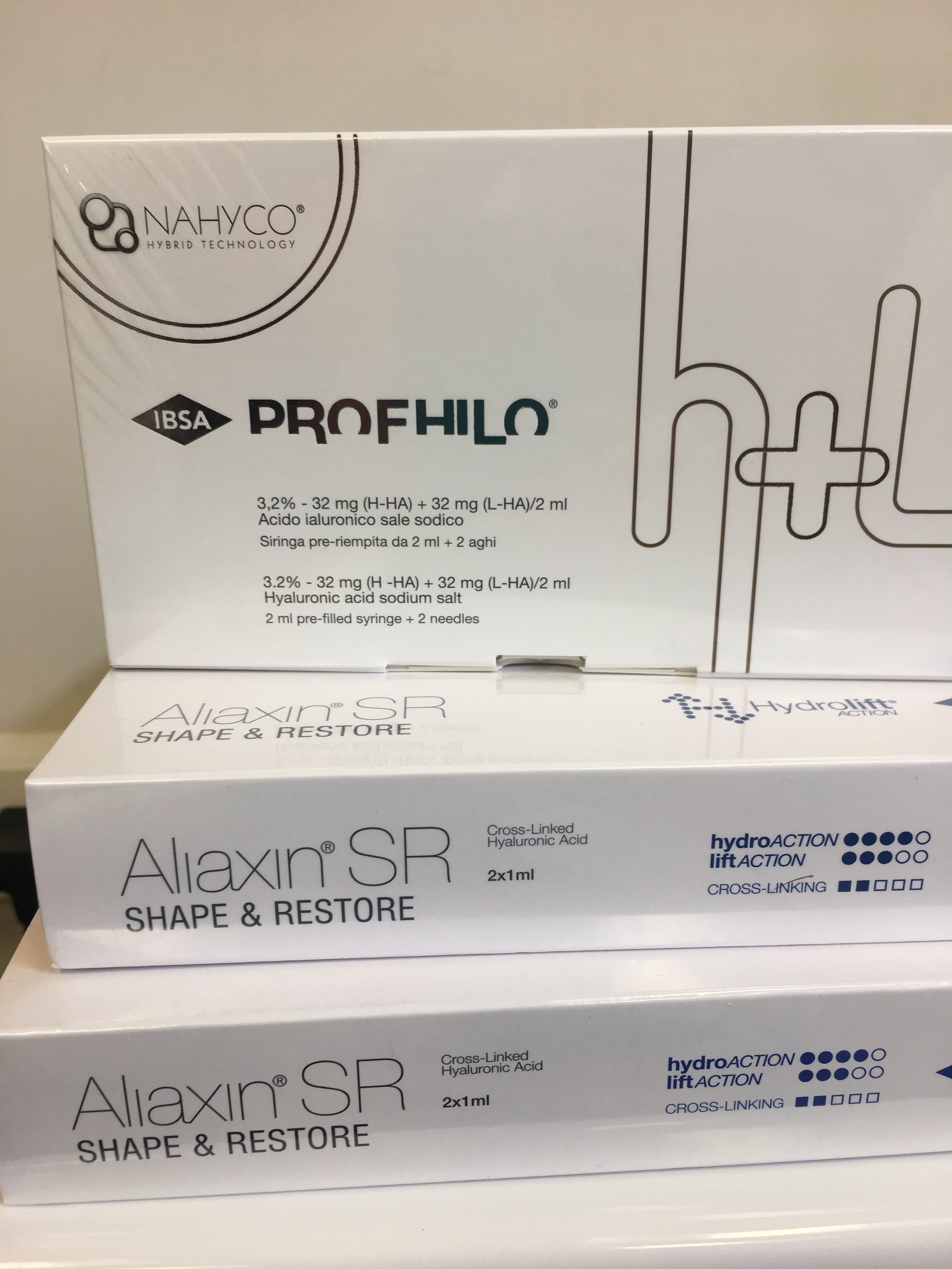 The products - Profhilo and Aliaxin Shape and Restore, that Dr Saira used in my neck