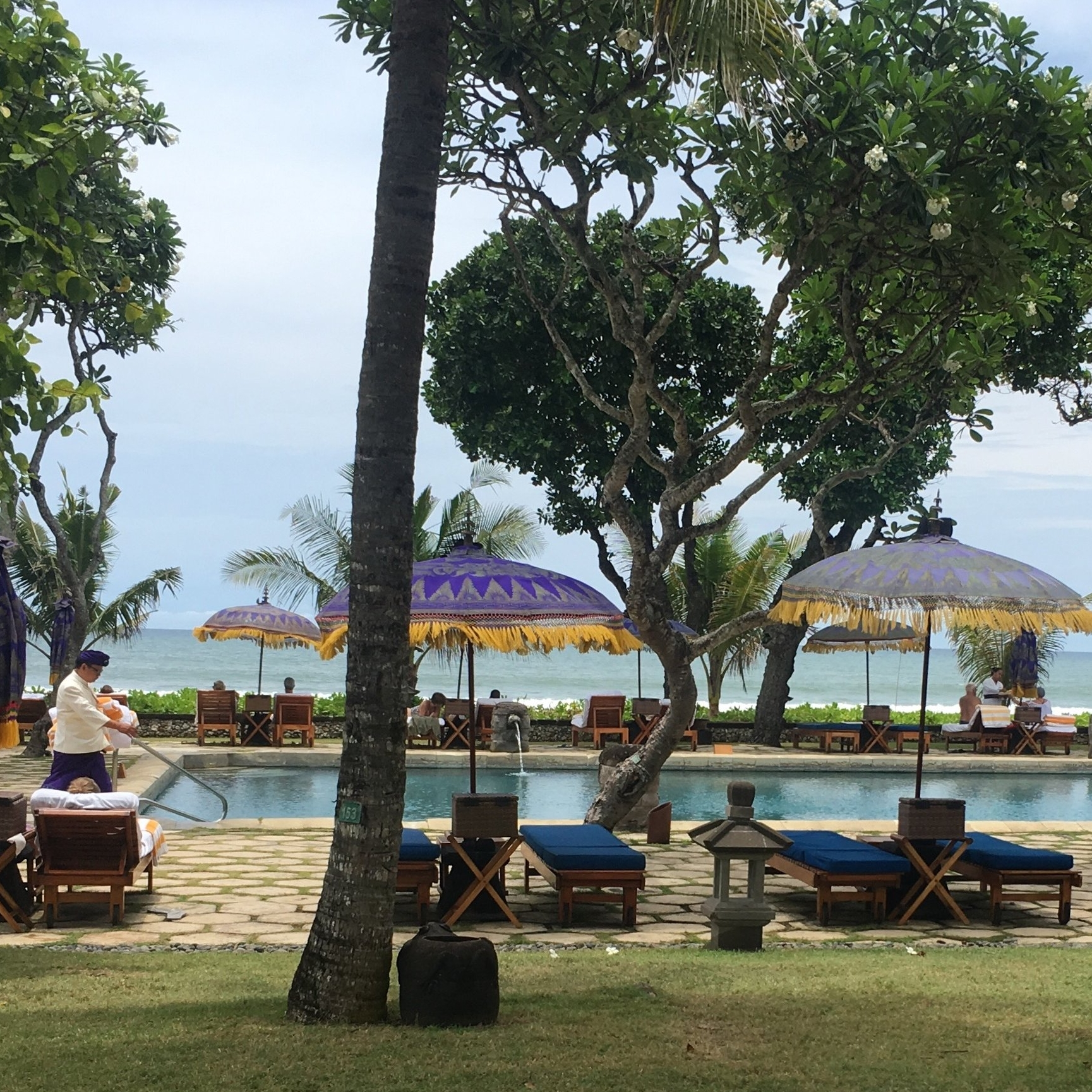 Lawns, pool, beach... the outlook at the Oberoi Hotel, Bali