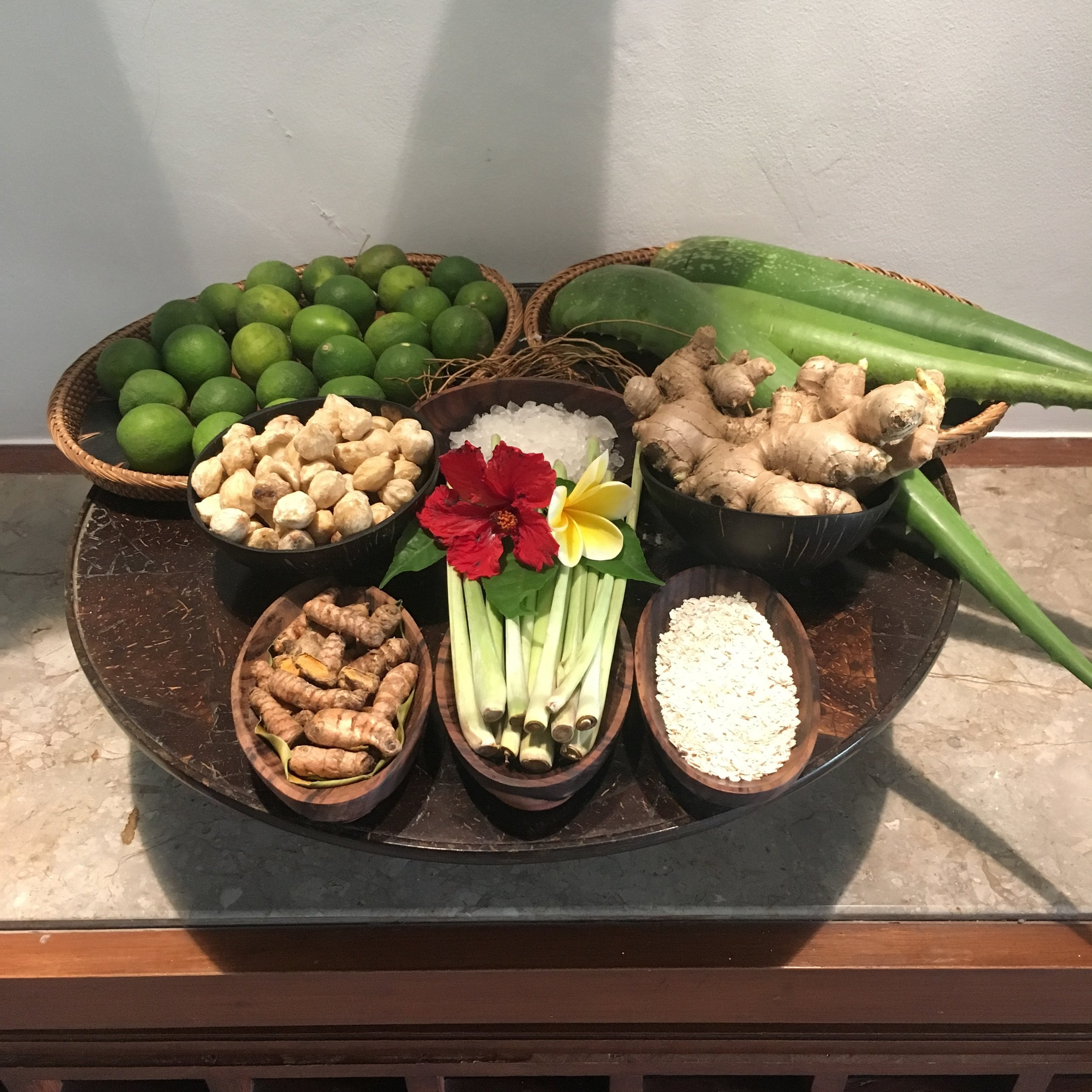 Limes, ginger, lemongrass, salt... some of the ingredients used in the spa treatments