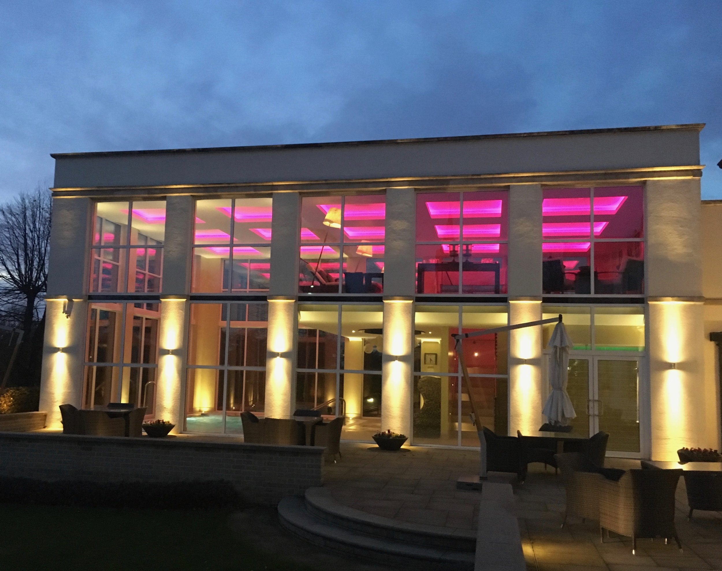 The Spa at Bedford Lodge Hotel, lit up at night